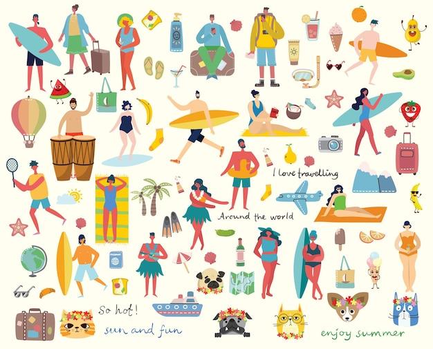 Zestaw różnych letnich podróży osób w stylu płaski flat