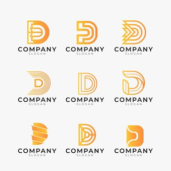 Zestaw różnych logo gradientu d