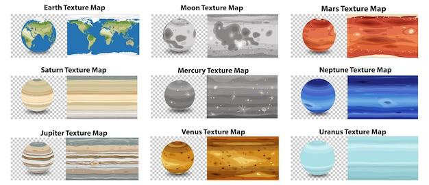 Zestaw różnych map tekstur planet