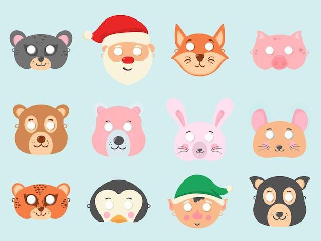 Zestaw różnych masek zwierzęcych na twarzy