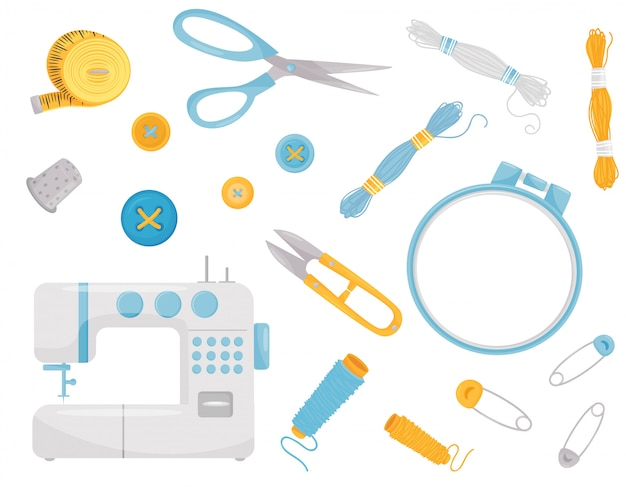 Zestaw różnych materiałów i sprzętu do szycia. profesjonalne instrumenty krawieckie