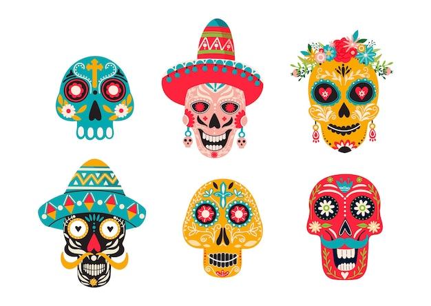 Zestaw różnych meksykańskich czaszek z ozdobami.