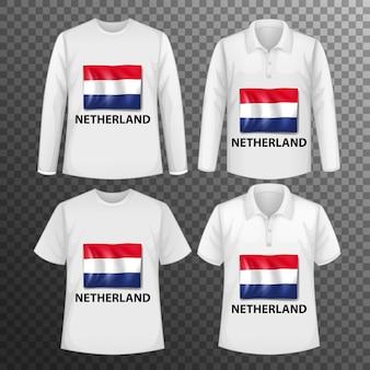 Zestaw różnych męskich koszul z ekranem flaga holandii na koszulkach na białym tle