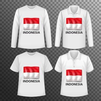 Zestaw różnych męskich koszul z ekranem flaga indonezji na koszulkach na białym tle