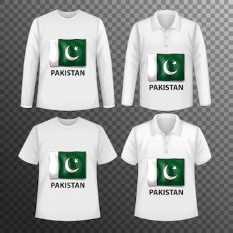 Zestaw różnych męskich koszul z ekranem flaga pakistanu na koszulkach na białym tle