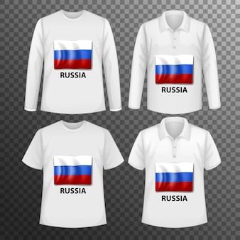 Zestaw różnych męskich koszul z ekranem flaga rosji na koszulkach na białym tle