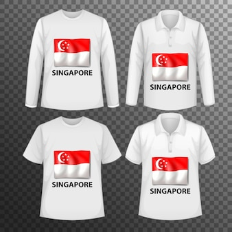 Zestaw różnych męskich koszul z ekranem flaga singapuru na koszulkach na białym tle