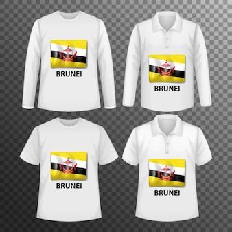 Zestaw różnych męskich koszul z ekranem flagi brunei na koszulkach na białym tle