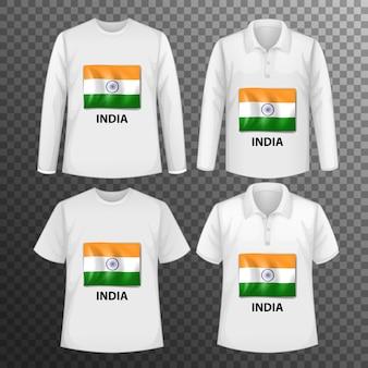 Zestaw różnych męskich koszul z ekranem flagi indii na koszulkach na białym tle