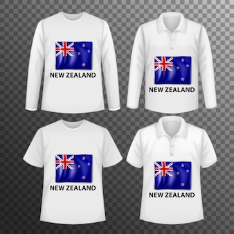 Zestaw różnych męskich koszul z ekranem flagi nowej zelandii na koszulkach na białym tle