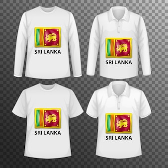 Zestaw różnych męskich koszul z ekranem flagi sri lanki na koszulkach na białym tle