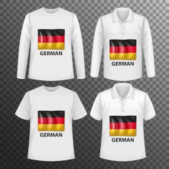 Zestaw różnych męskich koszul z ekranem niemieckiej flagi na koszulkach na białym tle