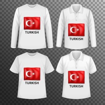 Zestaw różnych męskich koszul z ekranem tureckiej flagi na koszulkach na białym tle