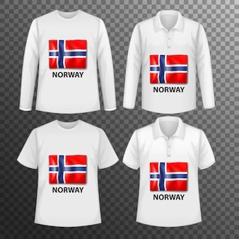 Zestaw różnych męskich koszul z ekranem z flagą norwegii na koszulkach na białym tle