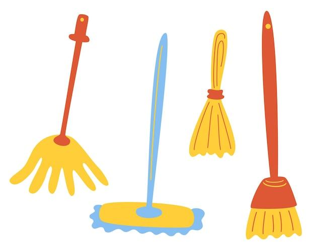 Zestaw różnych mopów. sprzątanie domu i innych pomieszczeń. zestaw narzędzi do czyszczenia. firma sprzątająca. prace domowe, koncepcja czyszczenia podłóg. płaskie ilustracji wektorowych.
