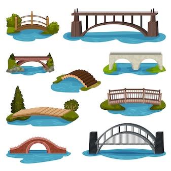 Zestaw różnych mostów. kładki drewniane, metalowe i ceglane. konstrukcje do transportu. motyw architektury