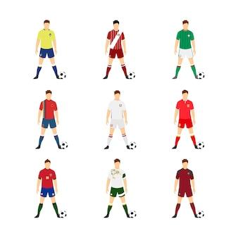 Zestaw różnych narodowych mundurów piłkarskich w reprezentacji świata