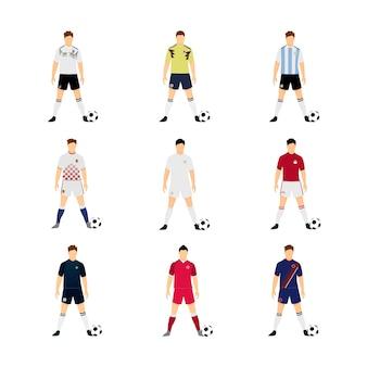 Zestaw różnych narodowych reprezentacji piłki nożnej