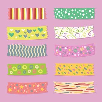 Zestaw różnych narysowanych taśm washi