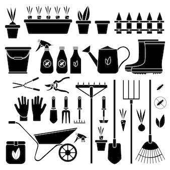 Zestaw różnych narzędzi ogrodniczych na na białym tle biały