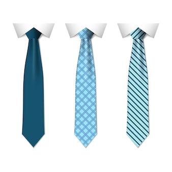 Zestaw różnych niebieskich krawatów na białym tle
