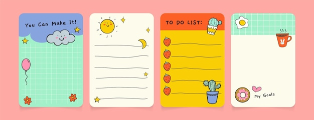Zestaw różnych notatek i kart w notatniku