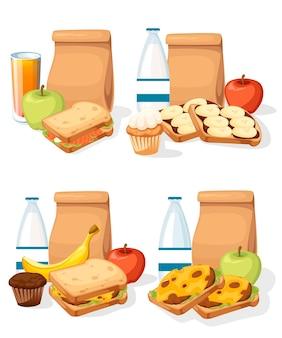 Zestaw różnych obiadów z papierowymi torebkami, kanapkami, napojami i ilustracją torby z owocami
