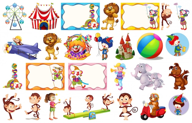 Zestaw różnych obiektów cyrkowych