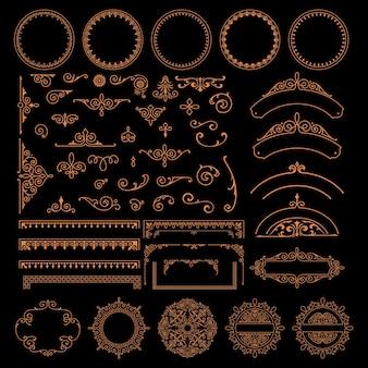 Zestaw różnych obramowań, wzorów i elementów projektu w stylu vintage