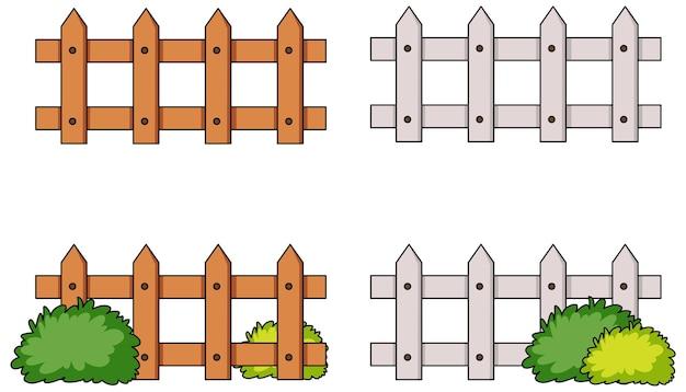 Zestaw różnych ogrodzeń na białym tle