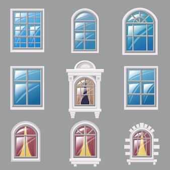 Zestaw różnych okien, element architektury