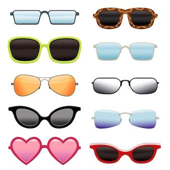 Zestaw różnych okularów przeciwsłonecznych