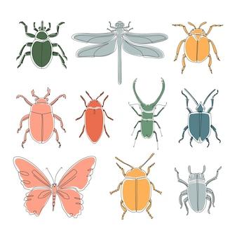 Zestaw różnych owadów streszczenie konspektu. ręcznie rysowane ilustracji wektorowych na wzór, logo, projekt.