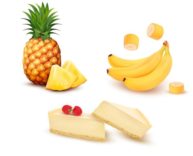 Zestaw różnych owoców i pustyni. ananas, banan i sernik. wektor.