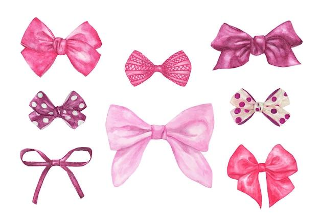 Zestaw różnych ozdobnych różowych kokardek prezentowych. akwarela ilustracja.