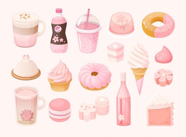 Zestaw różnych pastelowych różowych słodyczy i deserów. sezonowe jedzenie o tematyce sakura. pojedyncze ilustracje