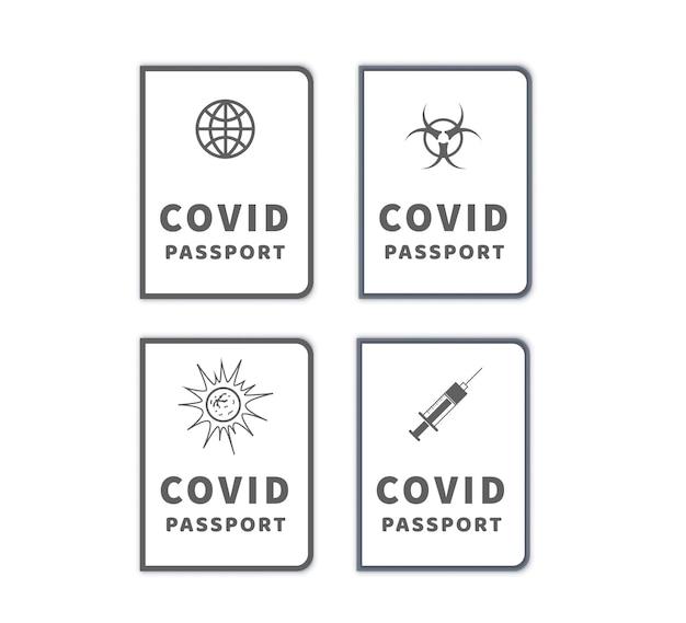 Zestaw różnych paszportów szczepień przeciwko covid-19 prostych ikon na białym tle