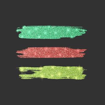 Zestaw różnych pędzli liniowych. kolekcja pędzli brokat w kolorach zielonym, czerwonym i żółtym, ilustracja