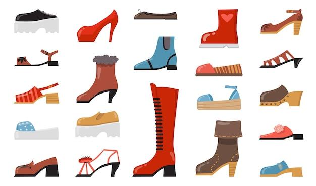 Zestaw różnych płaskich ikon modnego obuwia. kreskówka stylowe eleganckie i codzienne buty, buty sezonowe, letnie sandały na białym tle kolekcja ilustracji wektorowych.