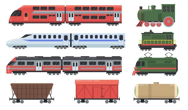 Zestaw różnych pociągów. lokomotywa, wagon osobowy, wagon towarowy, cysterna, kolej podmiejska. ilustracje wektorowe do podróży, dojazdów do pracy, ładunków, koncepcji transportu kolejowego