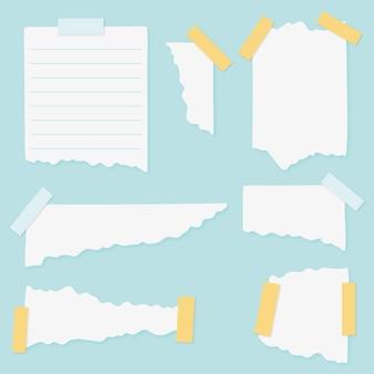 Zestaw różnych podartych papierów z taśmą