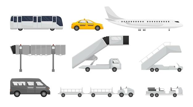 Zestaw różnych pojazdów do obsługi lotniska