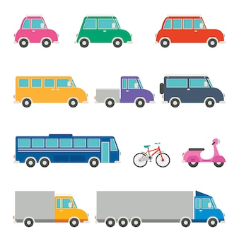 Zestaw różnych pojazdów kreskówek