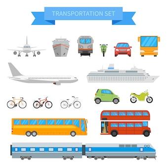 Zestaw różnych pojazdów transportowych na białym tle. transport miejski w płaskiej stylistyce.