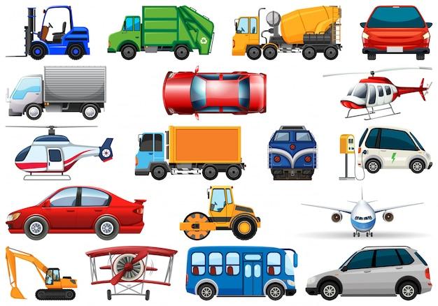 Zestaw różnych pojazdów transportowych