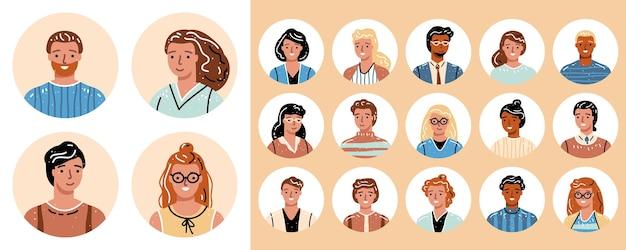 Zestaw różnych portretów osoby zróżnicowanego zespołu biznesowego
