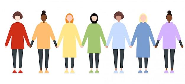 Zestaw różnych postaci kobiecych rasy w tęczy ubrania
