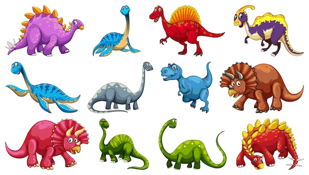 Zestaw różnych postaci z kreskówek dinozaurów na białym tle