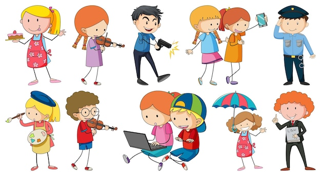 Zestaw różnych postaci z kreskówek dla dzieci doodle