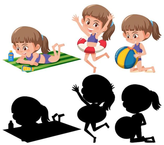 Zestaw różnych postaci z kreskówek dla dzieci w letnim motywie sylwetki